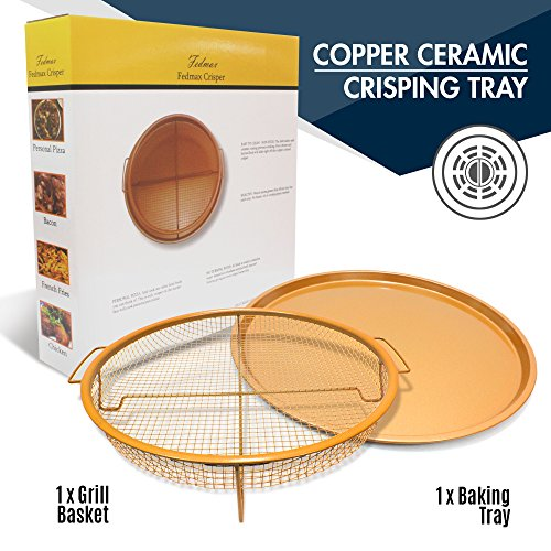 "Copper Ceramic Crisping Tray, 12"" Wide, Try in NuWave or other Compact Oven! Air Fryer to Make Crisper Personal Pan Pizza, Fries, Wings & More, Non-Stick, Dishwasher Safe."