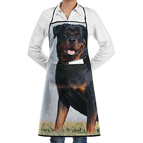 ERGOU Kitchen Bib Apron Neck Waist Tie Center Kangaroo Pocket Rottweiler Dog Black Waterproof