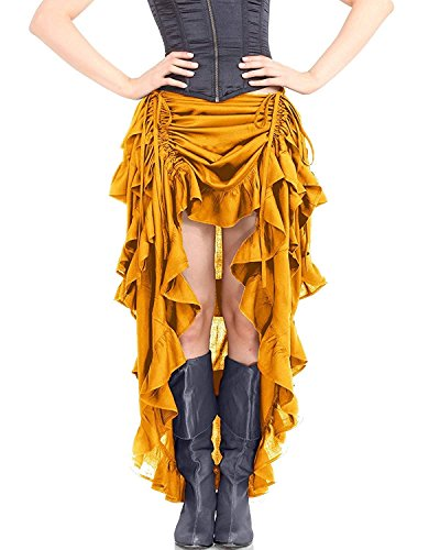 ThePirateDressing Steampunk Victorian Gothic Womens Costume Show Girl Skirt (Dull Gold) (X-Large)