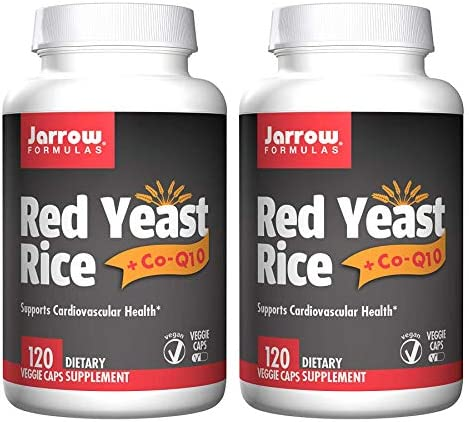 Jarrow Formulas Red Yeast Rice CoQ10 Supports Cardiovascular Health Dietary Supplement – 120 Veggie Caps Pack of 2