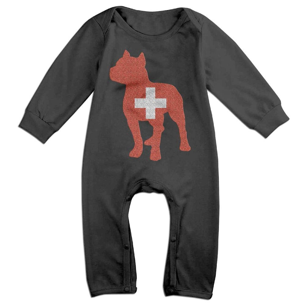 Mri-le1 Baby Girl Long Sleeve Jumpsuit Patriotic Pitbull Switzerland Flag Infant Long Sleeve Romper Jumpsuit