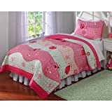 2 Piece Girls Ladybug Themed Quilt Twin Set, Wavy Horizontal Crossing Pattern Featuring Lady Bugs, Floral Flowers, Red Pink, Cute Adorable Bedding for Kids
