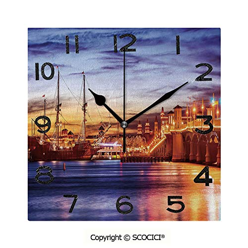 - SCOCICI 8 inch Square Clock St. Augustine Florida Famous Bridge of Lions Dreamy Sunset Majestic Decorative Unique Wall Clock-for Living Room, Bedroom or Kitchen Use