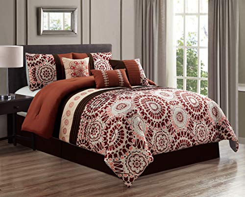 GrandLinen 7 Piece Spice/Chocolate/Brown/Coral Medallion Embroidered Bed in a Bag, Comforter Set Queen Size Bedding