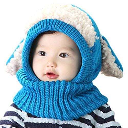 Diaper Catoon Dog Shape Kids Winter Knitted Hood Scarf Beanies Cap Hats & Caps