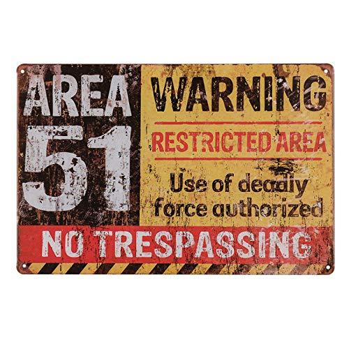 Area 51 Halloween (dingleiever-Funny Outdoor Decor Poster Area 51 No Trespassing Military Vintage Metal Yard)