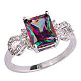 PSEZY Mystic Rainbow Topaz Amethyst rings for Women Vintage Engagement Rings Promise Rings MAE654-B654 10.0