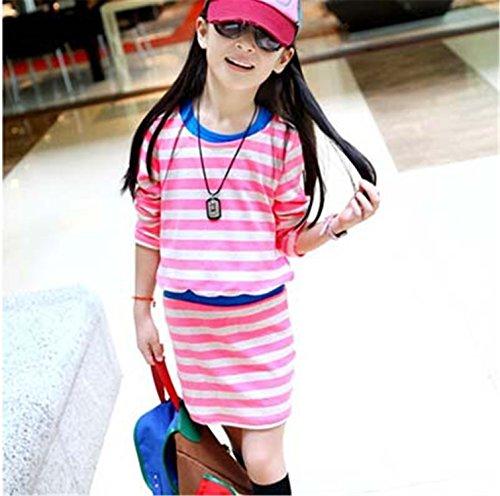 Ladiamonddiva Dresses for girls Girl Dress Spring 2017 Long Sleeve Black & White Stripes Girls Cotton Dress Teenage Dresss Infantis Clothes Pink - Rouge La Mall Baton
