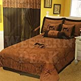 Western Peak 7 Pieces Turquoise Embroidery Texas Western Praying Cowboy Cross Luxury Comforter Micro Suede Bedding Set (King) (Queen, Brown)
