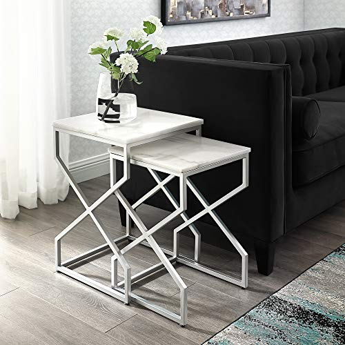 (Inspired Home Silver End Table - Design: Malou | Natural Marble Top | Stackable | Metal X-Cross Legs | Set of 2)