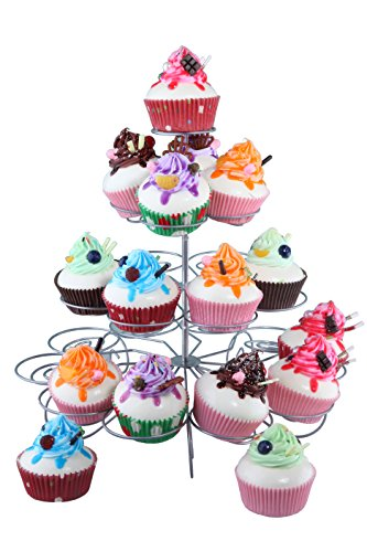 Circular Steel Cupcake Stand - Great for Birthdays, Weddings, Baby Showers, Centerpiece - 12