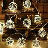 FZZ698 String Lights 20 LED Globe Fairy String Orb Lantern Patio Home Decor Diy Gift (F)