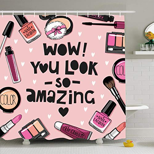 Ahawoso Shower Curtain 66x72 Inches Care Pink Lipstick Cosmetics Nail Polish Set Watercolor Powder Puff Eye Shadow Art Waterproof Polyester Fabric Set with Hooks
