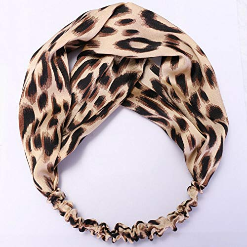 Satin Leopard Print Headband Turban Faux Silk Hair Band Hoop Twist Knot Headwear (StyleID - Beige 1#)
