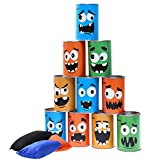 iBaseToy Bean Bag Toss Game for Kids & Adults - Carnival Party Supplies Games Tin Can Alley Game for Kids Birthday Parties - 10 Tin Cans and 3 Beanbags Included