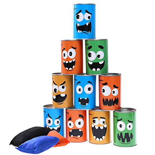iBaseToy Bean Bag Toss Game for Kids & Adults - Carnival Party Supplies Halloween Games Tin Can Alley Game for Kids Birthday Parties - 10 Tin Cans and 3 Beanbags Included