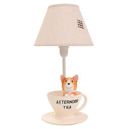 WSXXN Lámpara de mesa de resina de dibujos animados, Corgi ...
