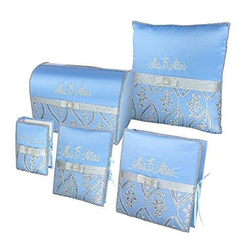 Quinceañera Accessory Set Bible Guest Book Photo Album Gift Box Kneeling Pillow - Blue (Quinceanera Set)