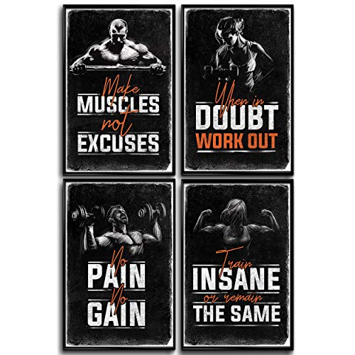 Bodybuilding Posters, Set of 4 11x17in. Motivational Phrases Gym Posters. Sports Wall Art Poster. Inspirational Fitness Bodybuilder Decor. Boys Room, Home Workout. Men Weightlifting. Guys Classroom.