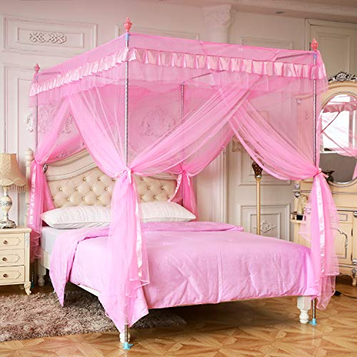 (Pink Princess 4 Corners Post Canopy Bed Curtains For Girls Kids Toddlers Crib Bed Canopy Netting, Bedroom Decor,Gift (Twin))