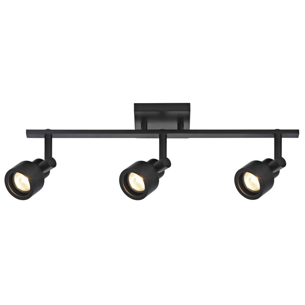 Track Light with 3 Stepped Cylinder Spot Lights - Black - GU10 Base