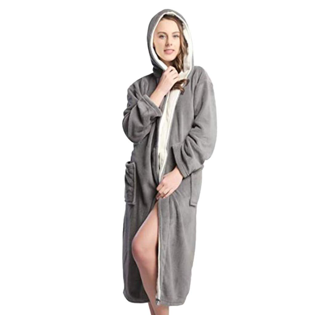 Women Warm Light Bathrobe,Ladies Winter Hoodie Soft Spa Full Length Clothing (L, Gray) by Woaills-Dress