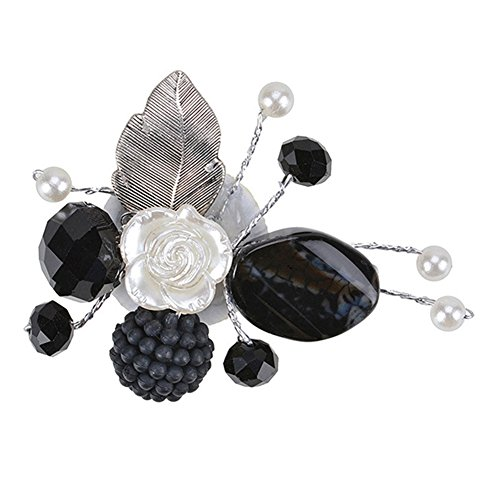 Acrylic Pearl Flower Brooch (Exquisite Flower Leaf Charm Brooch Pin Pearl Banquet Brooch for Women Girls Handmade Fashion Jewelry)