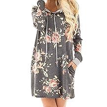 Women Casual Long Sleeve Floral Print Hoodie Loose Midi Tunic Sweatshirt Dress