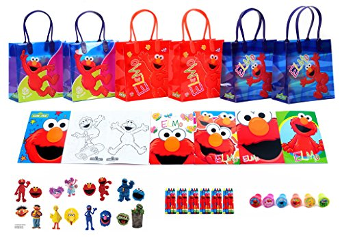 New Sesame Street Elmo Party Favor Set - Gift Bags /Coloring Book with crayon / Stamps / Tattoo Set - 6 Packs (58 Pcs)