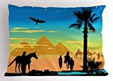 Lunarable Egyptian Pillow Sham, Desert Theme with Arabian People Riding Horses Camels Pond Palm Trees Pyramids, Decorative Standard Size Printed Pillowcase, 26 X 20 Inches, Multicolor