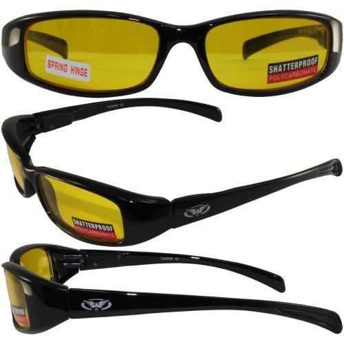 New Attitude Stylish Shiny Black Frame Yellow Lenses Sport - New Stylish Goggles