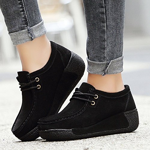 Noir Loafers Femmes Z Mocassins Casuel suo Chaussures Confort Suède 8qpT1w