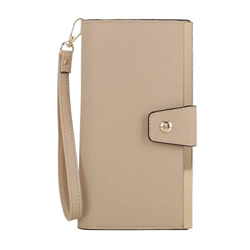 SG SUGU Vegan Leather Large Wristlet Purse Bag Zip Around Wallet Clutch Card Holder | Beige
