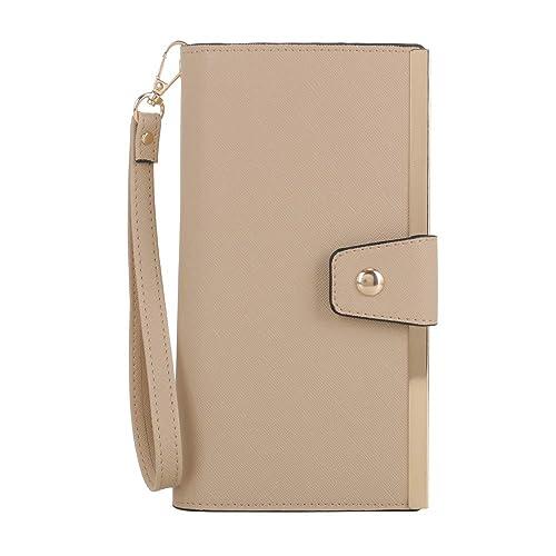 f73d6a4803e7f SG SUGU Vegan Leather Large Wristlet Purse Bag Zip Around Wallet Clutch  Card Holder | Beige