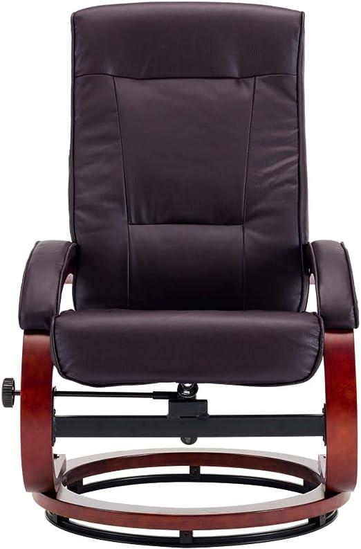 Relaxsessel Fernsehsessel mit Relaxfunktion Lounge Lesesessel mit Hocker Fu/ßhocker Mikrofaser braun