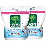L'Arbre Vert Lessive Liquide Hypoallergénique et Ecologique Peaux Sensibles Recharge 30 Lavages 2 L - Lot de 2