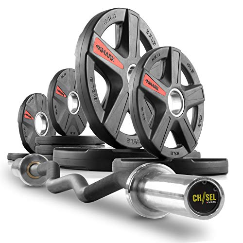(XMark Chisel Olympic Curl Bar with Texas Star 95 lb. Olympic Plate Weight Set, Notable Quality, Impressive Design, and Impeccable Craftsmanship)