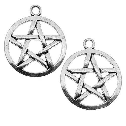 Beadaholique Lead-Free Pewter Pendant, Pentagram Star 29mm, 2 Pieces, Antiqued Silver