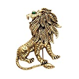 SENFAI Exquisite Fashion Top Grade Strong Lion Shape Brooch Crystal Mosaic Brooch Suit Brooch (Gold)