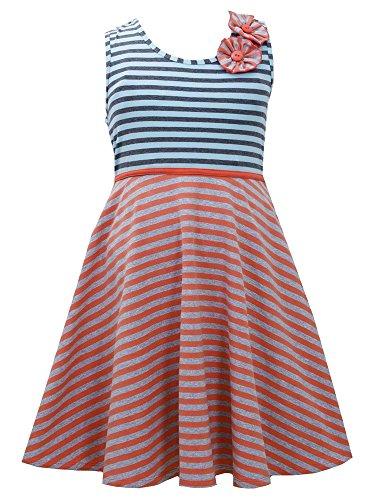 Trim Cross Dress Criss (Little Girls 2T-6X Coral/Blue/Gray Criss Cross Back Twin Stripe Knit Dress (6, Orange/Multi))