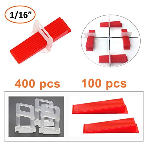 Miukada Tile Leveling System, DIY Tiles Leveler Spacer. 400 Pieces Leveling Spacer Clips and 100 Pieces Reusable Wedges
