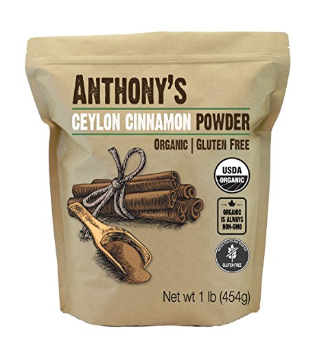 - Anthony's Organic Ceylon Cinnamon Powder (1lb), Ground, Gluten Free, Non-GMO, Non-Irradiated