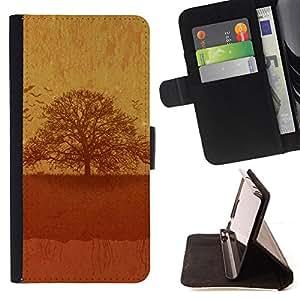 BullDog Case - FOR/Sony Xperia Z2 D6502 / - / Vintage Tree /- Monedero de cuero de la PU Llevar cubierta de la caja con el ID Credit Card Slots Flip funda de cuer
