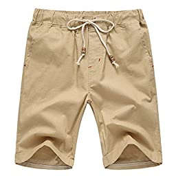 Manwan Walk Men\'s Linen Casual short 311 (X-Large, Khaki)