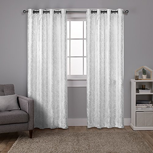 Exclusive Home Curtains Watford Distressed Metallic Print Thermal Grommet Top Window Curtain Panel Pair, Winter White, Silver Print, 52x84 (White Curtains And Silver)