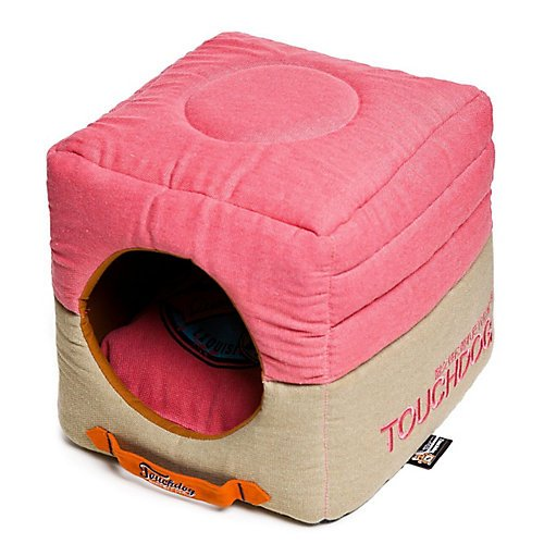 Bubble Cotton Bed (TOUCHDOG 'Vintage Squared' Convertible and Reversible Retro Printed 2-in-1 Collapsible Pet Dog Cat House Bed, One Size, Bubblegum Pink, Beige)