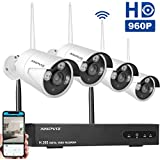 Anpviz 8CH Wireless IP Security Camera System NVR Kits, 1080P NVR 4pcs 960P WiFi Outdoor Security Bullet Camera, Motion Detection IP66 Waterproof, HDD Not Included (White)