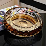 Home Ashtray Crystal Glass Cigarettes Windproof Living Room Coffee Table Multi-function Indoor And Outdoor Ashtray (Gold) ( Size : 25CM )
