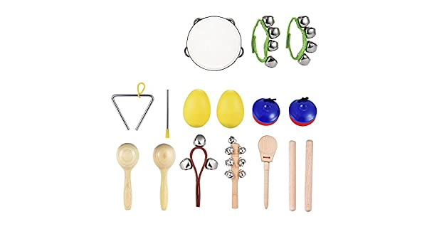 amazon com: ammoon 10pcs musical instruments percussion toy rhythm band set  including tambourine maracas triangle castanets wrist bell for kids  children