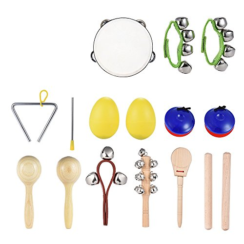(ammoon 10pcs Musical Instruments Percussion Toy Rhythm Band Set Including Tambourine Maracas Triangle Castanets Wrist Bell for Kids Children Baby)